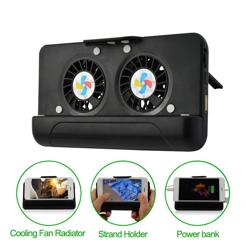 Cell Phone Cooler, Usb Cooling Dual Fan Radiator/Stand Holder/Power Bank With 4400Mah Rechargeable Battery For Iphone Smart Ph