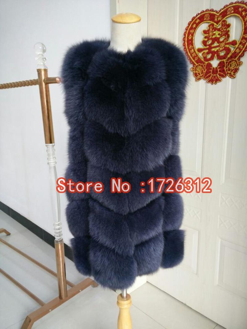 2019 Přírodní liška kožešinová O-Neck krátká vesta dámská teplá podzimní a zimní kožich 100% pravá liščí srst