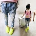 Wholesale (5pcs / the) -2017 new children jeans girls pants colorful spring hole jeans shorts casual wholesale children