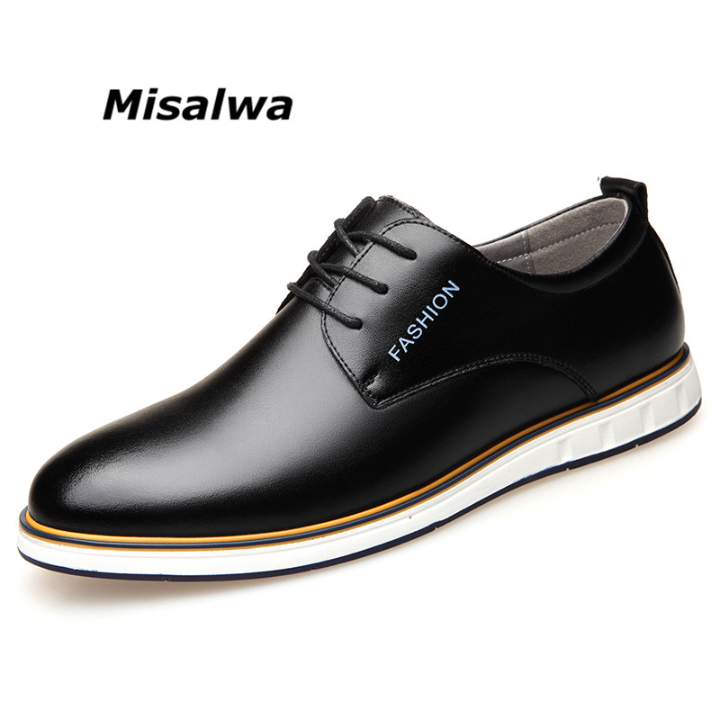 Misalwa Mens Black Brown Natural Leather Casual Derby Dress Shoes Fashion Luxury Classic Spring Sneakers Blue Brown Flaty Shoes opp 2017 men s patent leather dress shoes new fashion style classic low dress shoes natural leather shoes for mens derby shoes