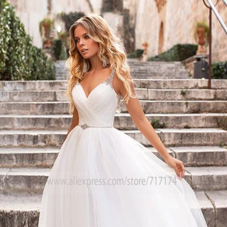 V-neck Neckline Pleat Beading Straps Sleeveless A-line Wedding Dress With Pearls Belt Court Train Bridal Dress Vestido De Novia