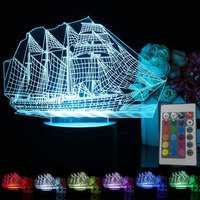 Creative Eco Friendly 7 Color Changing Sailboat Shape Table Lamp Night Light Gifts USB Rechargeable Acrylic
