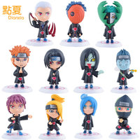 DIANXIA 11pcs Set Anime Naruto Akatsuki Q Version Action Figure Toy Car Decoration Hot Sale Kids