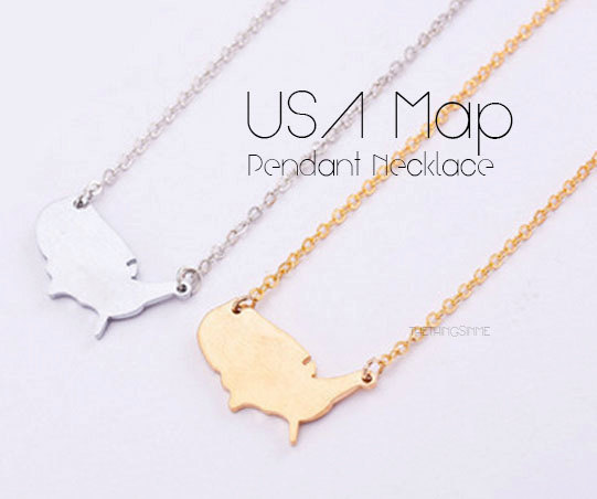 PCS United States Outline Necklace USA US Silhouette Map - Landscape map of usa