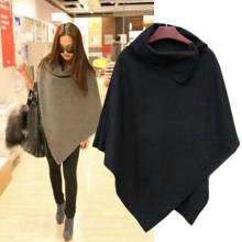 2017 Autumn Winter Bat Sleeve Solid Color Gray Black khaki Cloak Coat New Fashion Loose Asymmetric Hem Cape Coats Lolita Outwear(China)