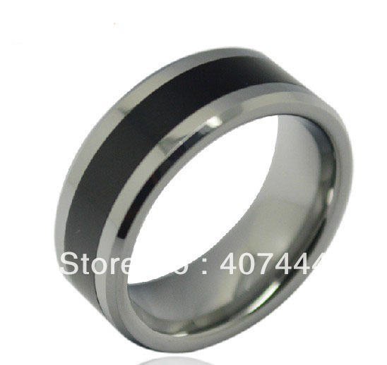 usa hot selling 8mm hisher best silver tungsten ring with black resinonyx - Onyx Wedding Ring