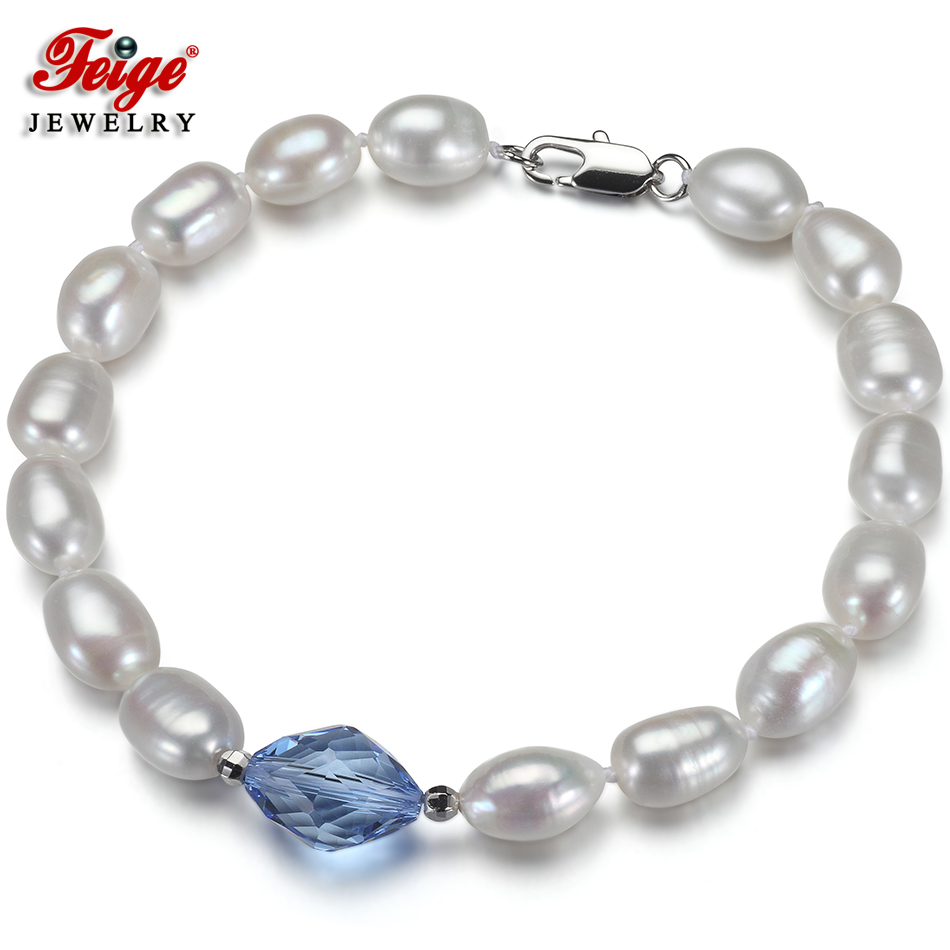 Fashion Baroque Natural Pearl Bracelet for Women 7-8MM Freshwater Pearl Blue Crystal Beads Strand Bracelet Wholesale Gifts FEIGE shiying c04349 fashion elephant multilayer tourmaline natural crystal bracelet blue