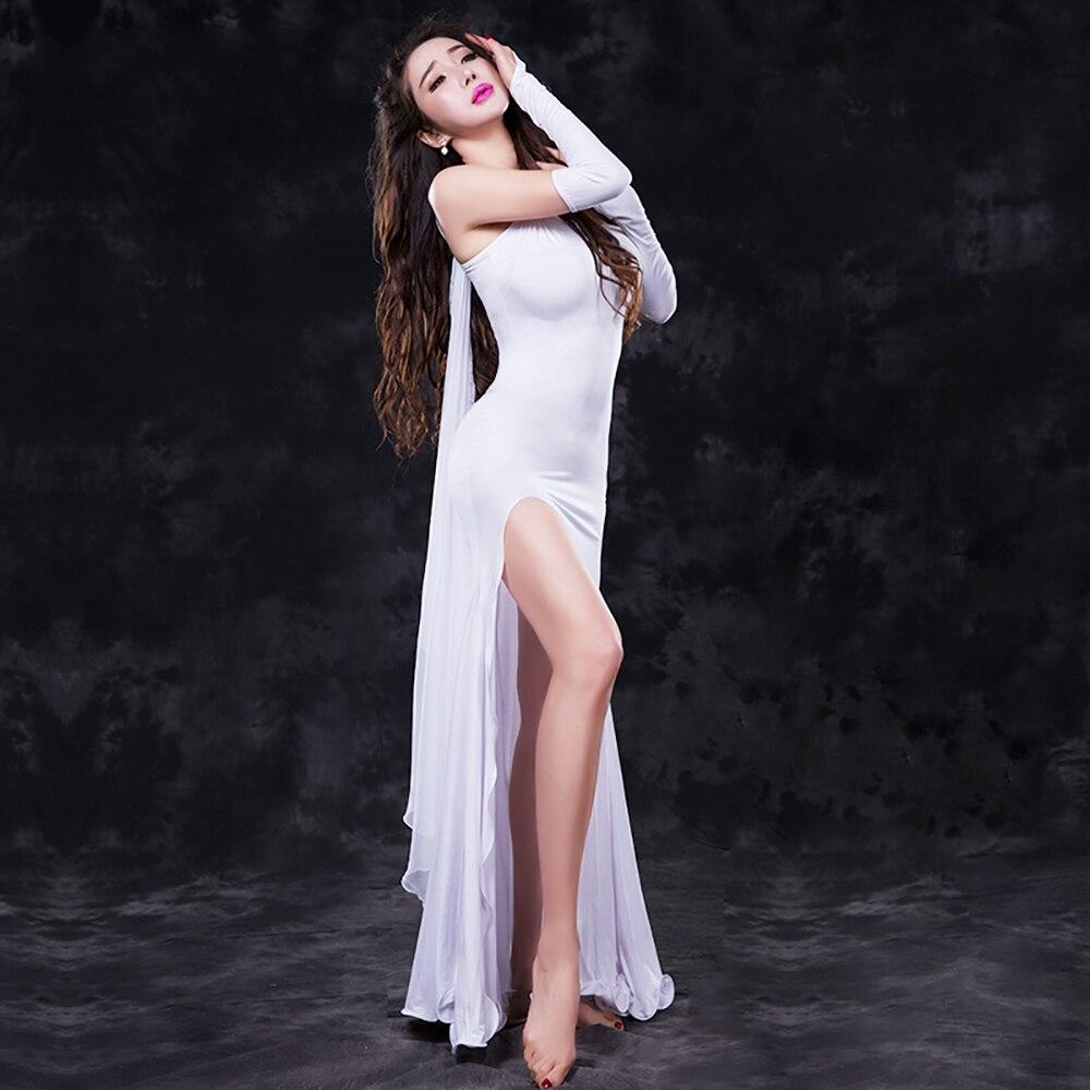 2018 Sex Lady robe de danse du ventre femmes Modal 4 pièces (robe et manches à la main et voile et Leggings) ensemble de pratique de la danse du ventre Bollywood inde Show