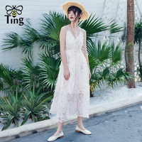 Tingfly 2019 Summer New Arrivals Fashion Sexy Cross Strap Backless Boho Dress Light Pink Party Dresses Summer Beach Sundress