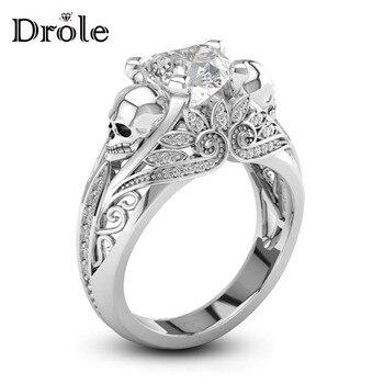 Forma de corazón CZ piedra plata Punk calavera anillo de promesa para mujeres joyería de moda boda compromiso San Valentín regalo