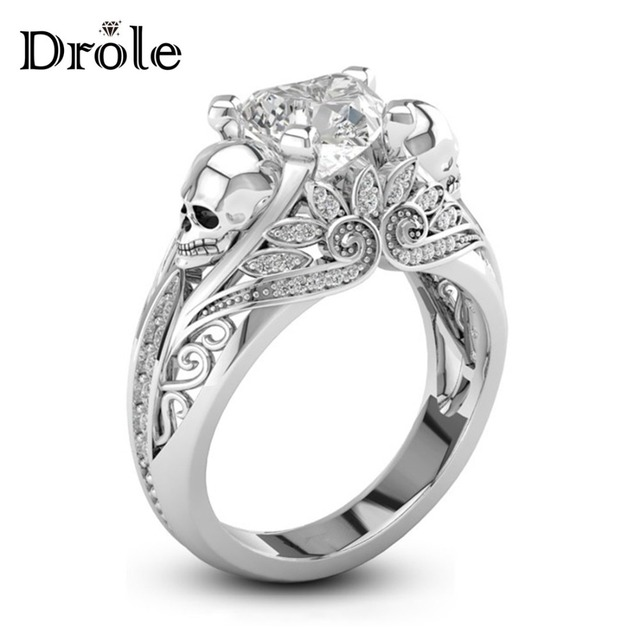 Heart Shape CZ Stone Silver Punk Skull Promise Ring for Women Fashion Jewelry Wedding Engagement Valentine's Day Gift
