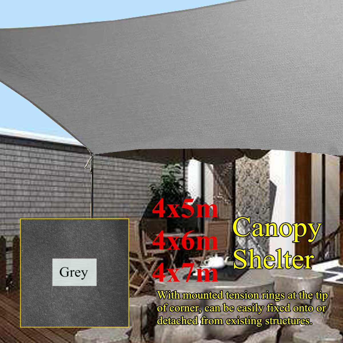 Waterproof Grey Sun Shade Canopies 4x5/6/7m Outdoor Camping Hiking Yard Garden Patio Shelters Cover Canopy Sun Block Cloth