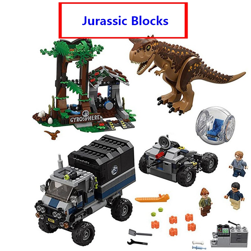 2018 New Jurassic World Compatible with lego 75929 Carnotaurus Gyrosphere Escape Set Model Building Blocks Toys For Children2018 New Jurassic World Compatible with lego 75929 Carnotaurus Gyrosphere Escape Set Model Building Blocks Toys For Children