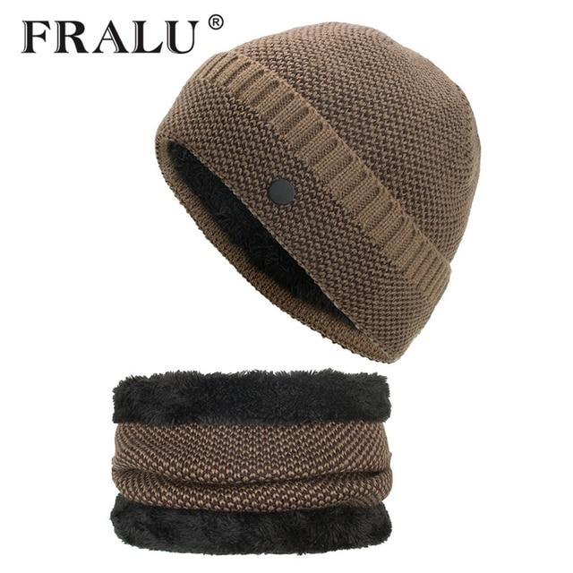 64259702 FRALU Winter Beanies Men Scarf Knitted Hat Caps Mask Gorras Bonnet Warm  Baggy Winter Hats For Men Women Skullies Beanies Hats