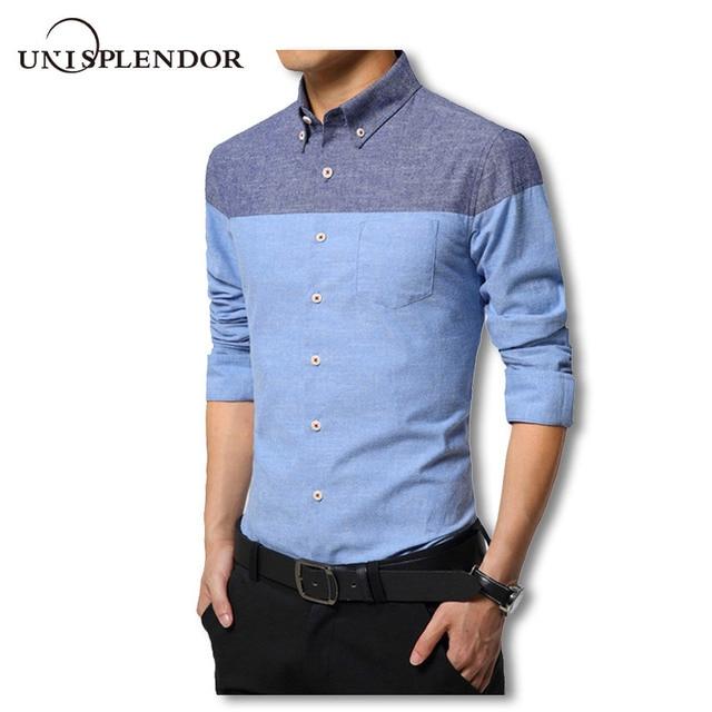 0a01517cf26 2019 Весна Новый 95% хлопок мужская рубашка с длинным рукавом мужские  деловые рубашки Slim Fit