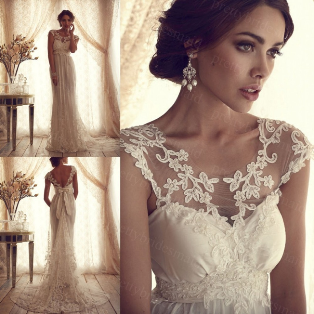 Buy High Fashion 2015 Lace Wedding Dresses Vintage A Line Cu