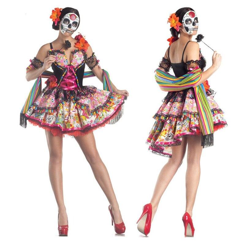 Womens Senorita Sugar Skull Costume Day of the Dead Halloween Ladies Fancy Dress