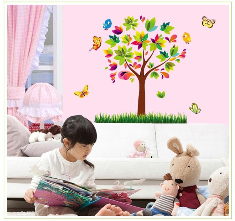 girls children flower wallpaper cartoon plants decals home nursery ...