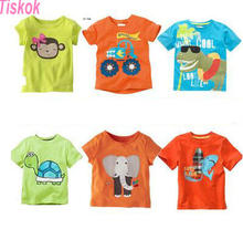 2016 tiskok new new Blouse boys t shirt kids clothing 100%cotton childrens clothes Summer short tee Cartoon dinosaur