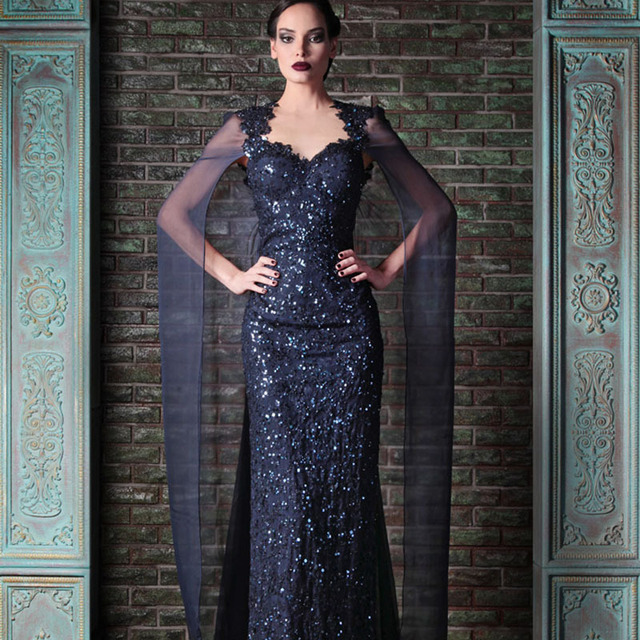 e588909c23d Charming Nancy Ajram Navy Blue Sweetheart Appliqued Beaded Bling Bling  Sequin Lace Prom with Cape mother of the bride dresses