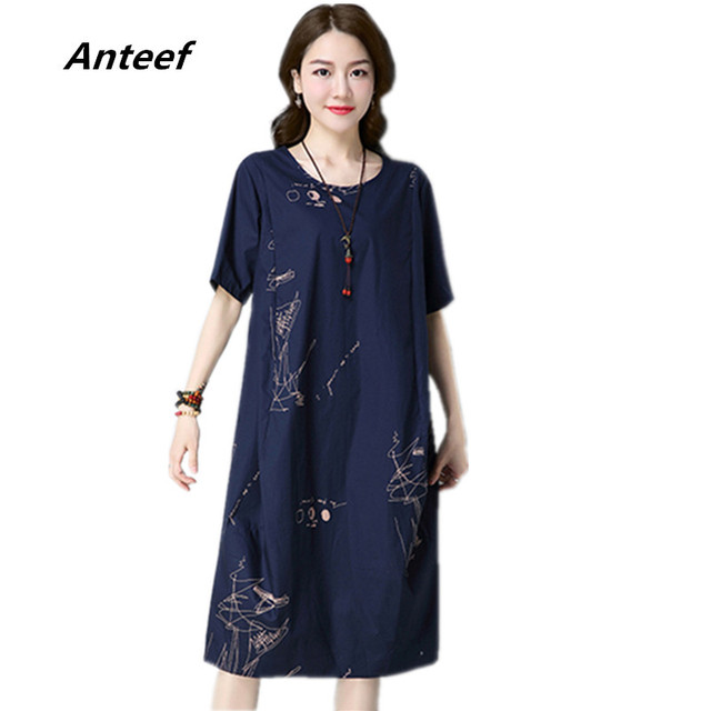 b4604ad6541 new fashion cotton linen vintage print women casual loose summer dress  vestidos femininos 2018 dresses