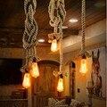 Vintage Natural Corda de Cânhamo Luz Pingente E27 Loft Pingente Edison Lâmpada estilo Rústico Bar Restaurante Luminária de iluminação de Suspensão