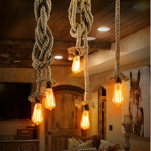 Vintage Rope Pendant light Hemp Edison bulb Decor E27 pendant Lamp Kitchen dining room DIY hand knitted hanglamp light fixture