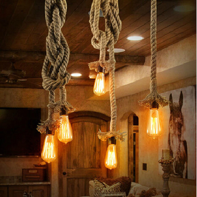 Vintage Rope Loft Pendant Lights Hemp Edison Bulb E27 Lamp Kitchen Dining Room Diy Hand