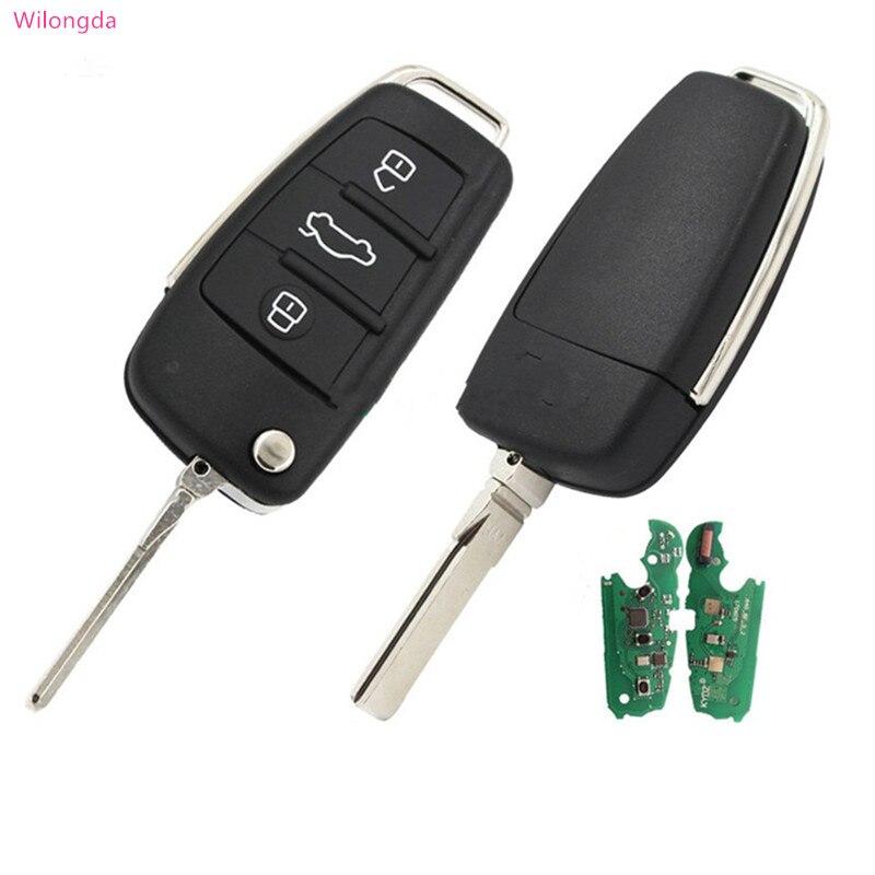 Wilongda clé de voiture intelligente 3 bouton flip clé à distance 8E puce 868 mhz FSK modèle pour audi A6L Q7 clé automatique