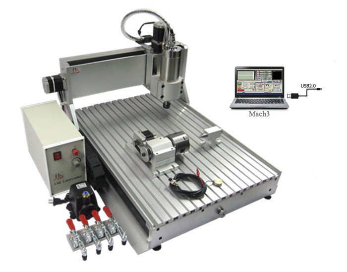 wood carving machine 6040 Z-VFD 4axis 1500W CNC router with usb port for metal drilling and milling mini cnc router machine 2030 cnc milling machine with 4axis for pcb wood parallel port