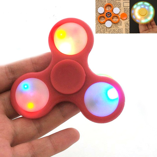Luminous Finger Spinner Led EDC Tri Glow In The Dark Fidget Plastic Gyro Toys Autism