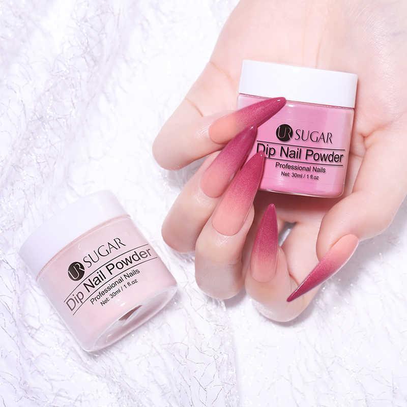 Polvo de azúcar de UR polvo francés brillo de uñas pigmento gradiente uñas Natural 30g Color holográfico decoración de uñas Dip purpurina