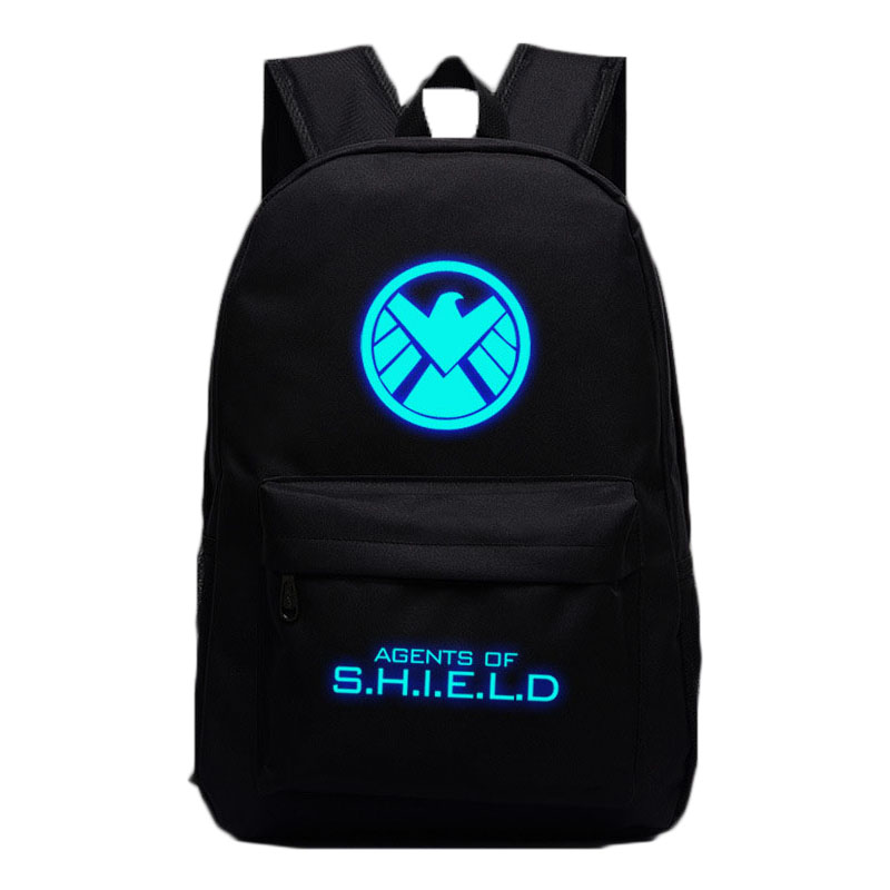 2017 New Aegis Bureau Iron Man Luminous Backpack SHIELD School Bags For Teenagers Rucksack Super Hero Children Mochila Gifts vn in the summer of 2016 popular american tv drama aegis bureau agents luminous printing logo backpack trend a surprise gift