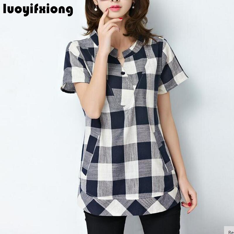 Women Tops Clothes summer short Sleeve Casual Black blue plaid Shirts Blouses Loose Plus Size 5xl fashion Blusas Femininas