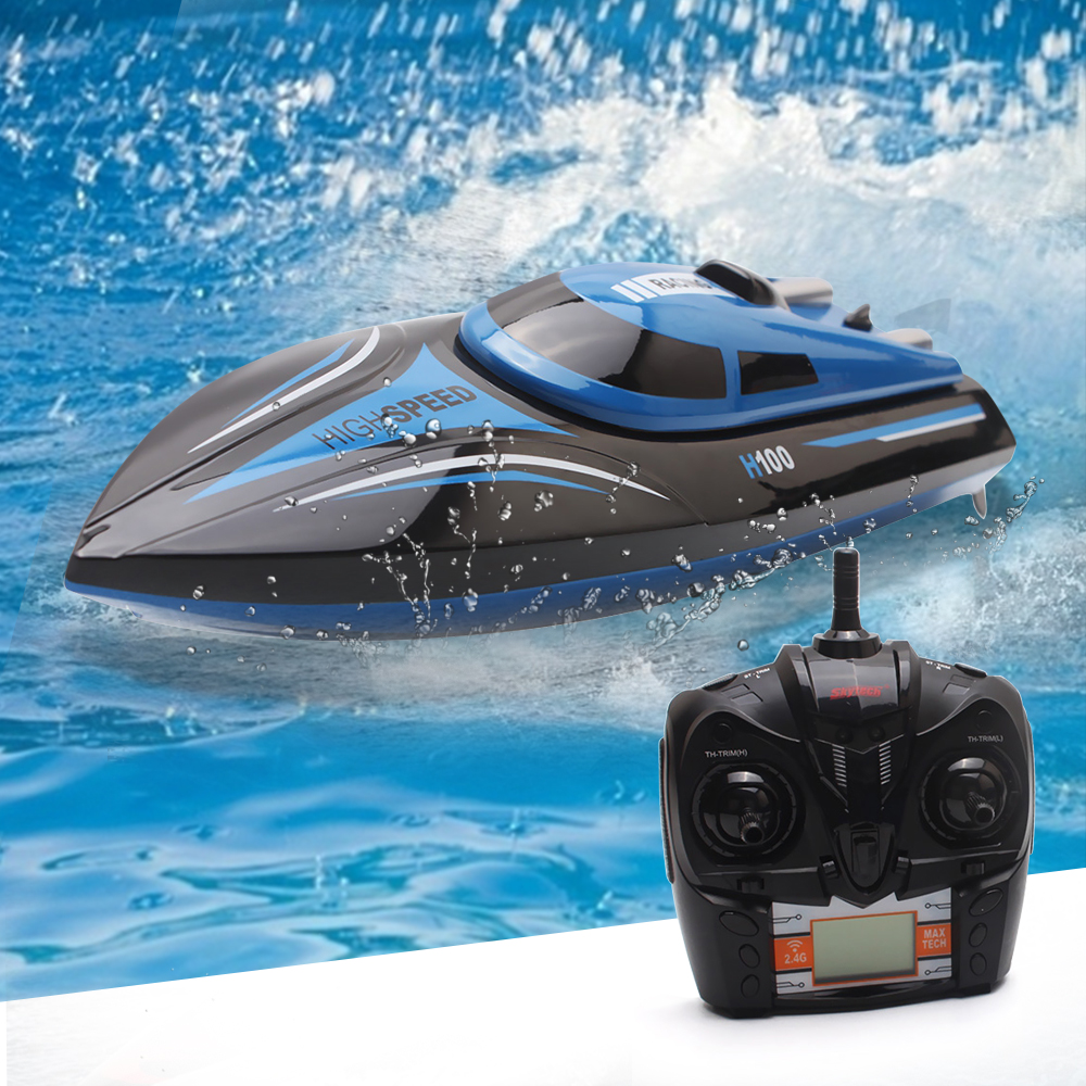 RC Boat H100 2.4GHz 4 Channel High Speed 30km/H Racing Remote Control Boat With LCD Screen For Children Toys Kids Birthday Gifts