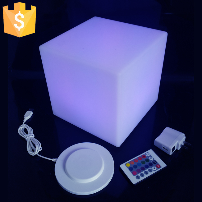 High Quality RGB Color Charging Rechargable 20cm Led Cube Table Lamp For Home/bar/cafe/garden Decoration Free Shipping 20pcs