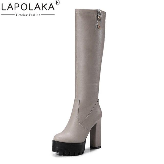 388e59f5616e LAPOLAKA 2017 Plus Size 32-42 Platform Winter Shoes Women Fashion Zip Ip  Square High Heels Sexy Knee High Boots