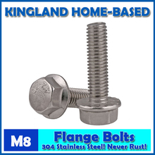 M8 GB5789 Large Hexagon Hex Head Serrated Flange Bolts 304 Stainless Steel Home Improvement SUS304 Full Thread