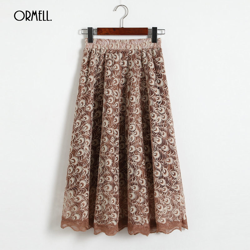 ORMELL 3 Colors Lace Skirts Womens 2018 Elegant Black Beige Khaki Hollow Peacock Knee Length Tulle Midi Skirt Fashion Ropa Mujer