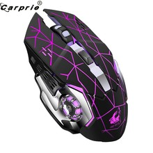 Rechargeable X8 Wireless Gaming Mouse 2400DPI Silent Noiseless LED Backlit USB Optical Ergonomic Gaming Mice Mute 90214(China)
