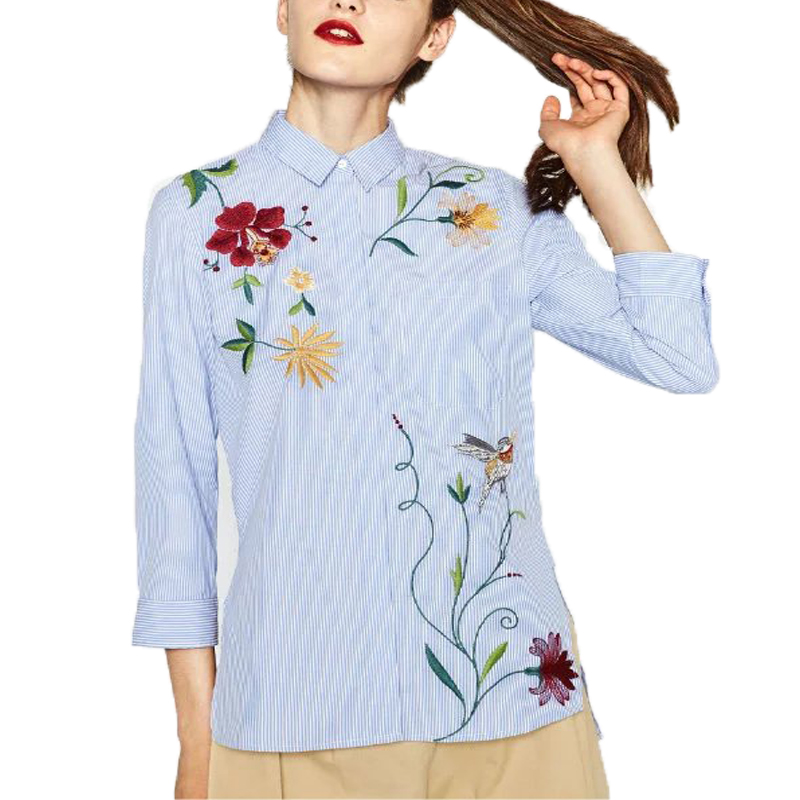 Flower embroidery shirt women blouses casual striped