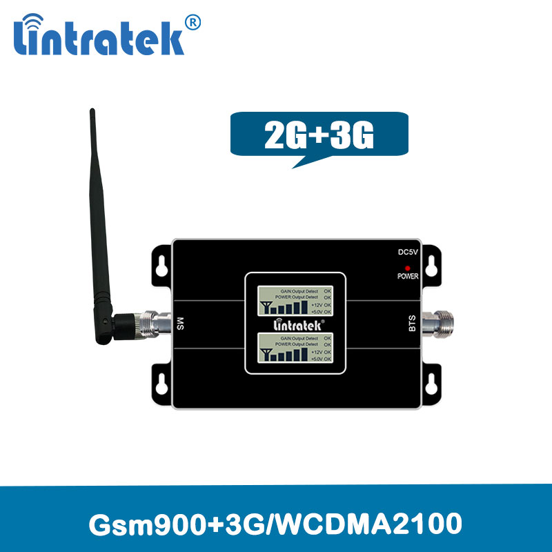 Lintratek 2G 3G GSM 900 WCDMA 2100 Dual Band Mobile Phone Signal Repeater GSM 3G UMTS Cellular Booster Amplifier @4.4