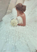 Smileven Wedding Dress Plus Size Lace Appliqued With 3D Flowers Turkey Boho Ball Gown Bride