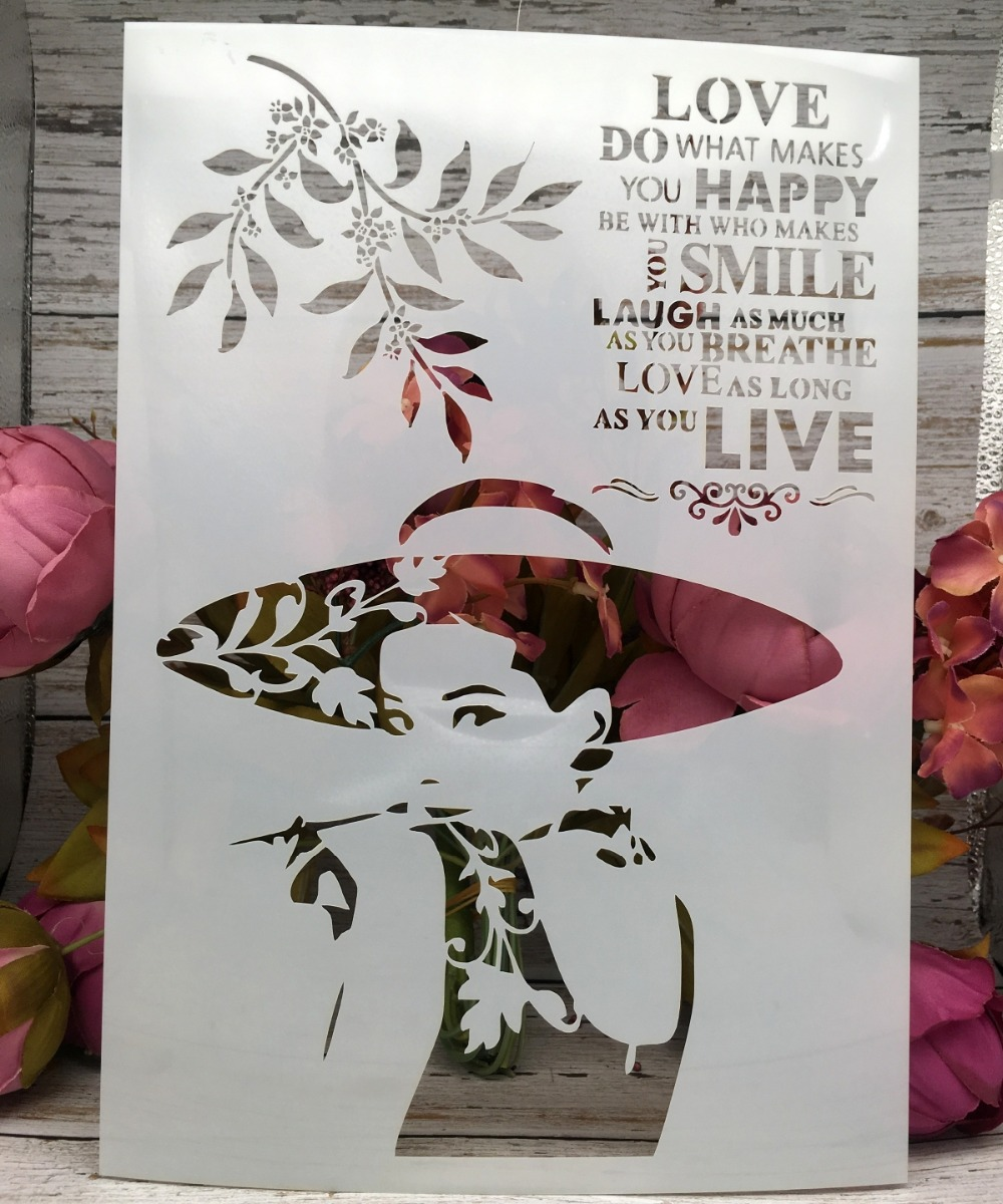 A4 Hat Fashion Lady Words DIY Layering Stencils Wall Painting Scrapbook Coloring Embossing Album Decorative Paper Card Template