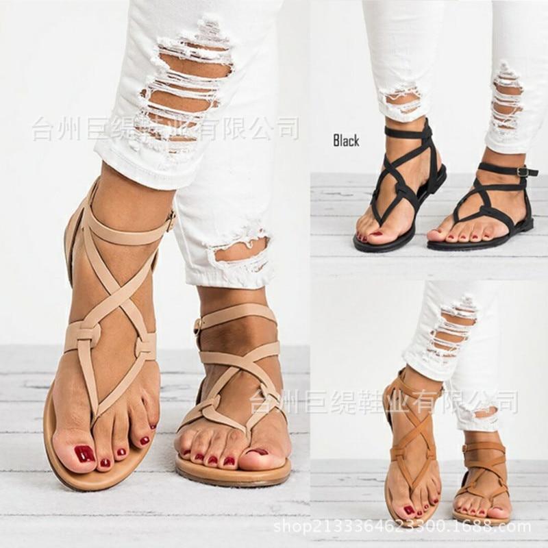 e525b7a65ea Leisure Women Summer Platform Shoes Cross-tied Solid Open Toe Women Wedges  Sandals Back Strap