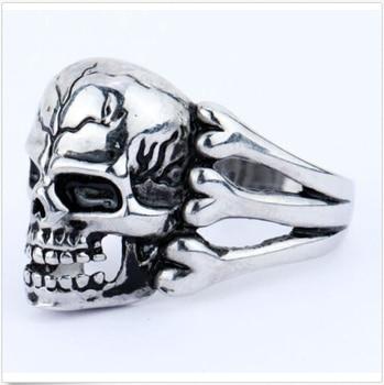 2019 Man's Ring Gothic Men's Skull Flower Biker Zinc alloy Ring Man fashion rings Jewelry gift