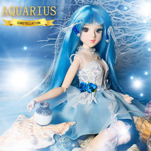 MMG Girl fortune days BJD doll 12 constellations Aquarius blue dress outfit boots stand necklace kettle joint body toy gift(China)