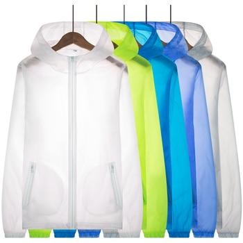 цена на Men Women Ultralight Anti-UV Skin Coat Jacket Outdoor Sports Quick Dry Sun Protective Hiking Windbreaker Hooded Cycling Jersey