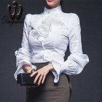 New Style Lady White Shirts Formal Work Blouse Size S 3XL Korean Women Ruffles Shirts Chiffon