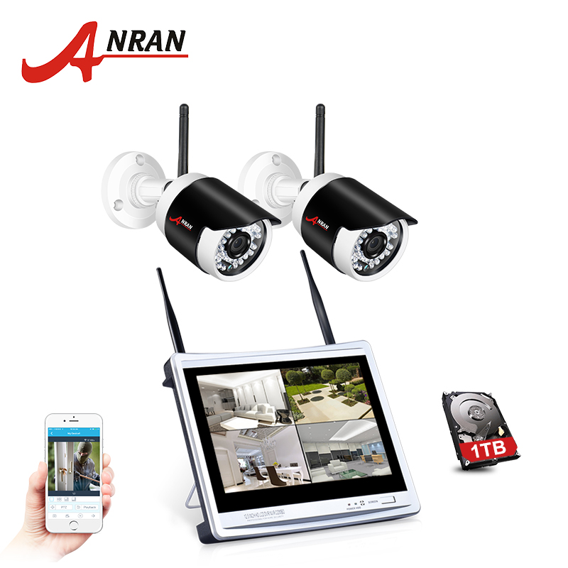 P2P 4CH CCTV Wireless NVR Kit 12 Inch Monitor 2pcs 36 IR 960P HD WIFI Outdoor IP Camera Surveilance System HDD Disk anran p2p 4ch wireless nvr 36 ir outdoor video 960p wifi ip camera cctv security system hard disk optional